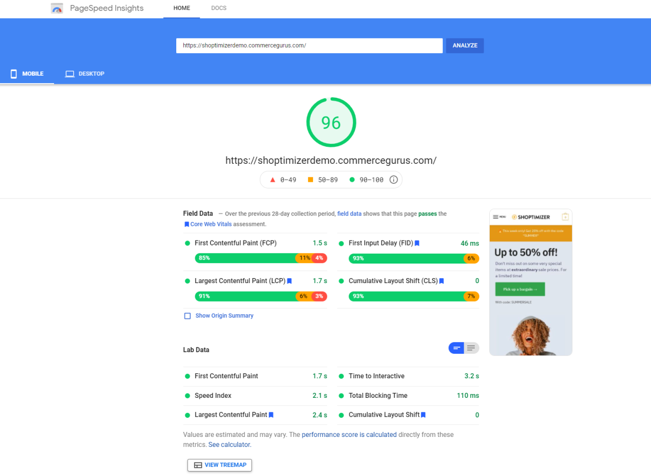 Shoptimizer PageSpeed test