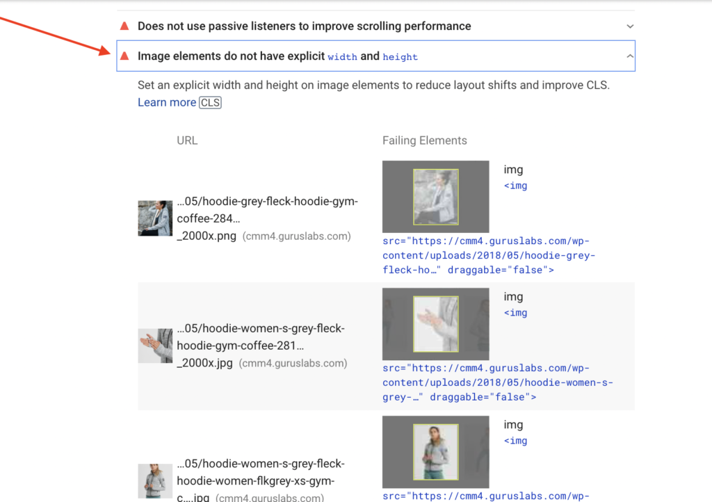 Image elements do not have explicit width and height in Google PageSpeed Insights