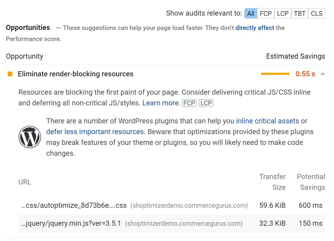 Fix eliminate render-blocking resources warning