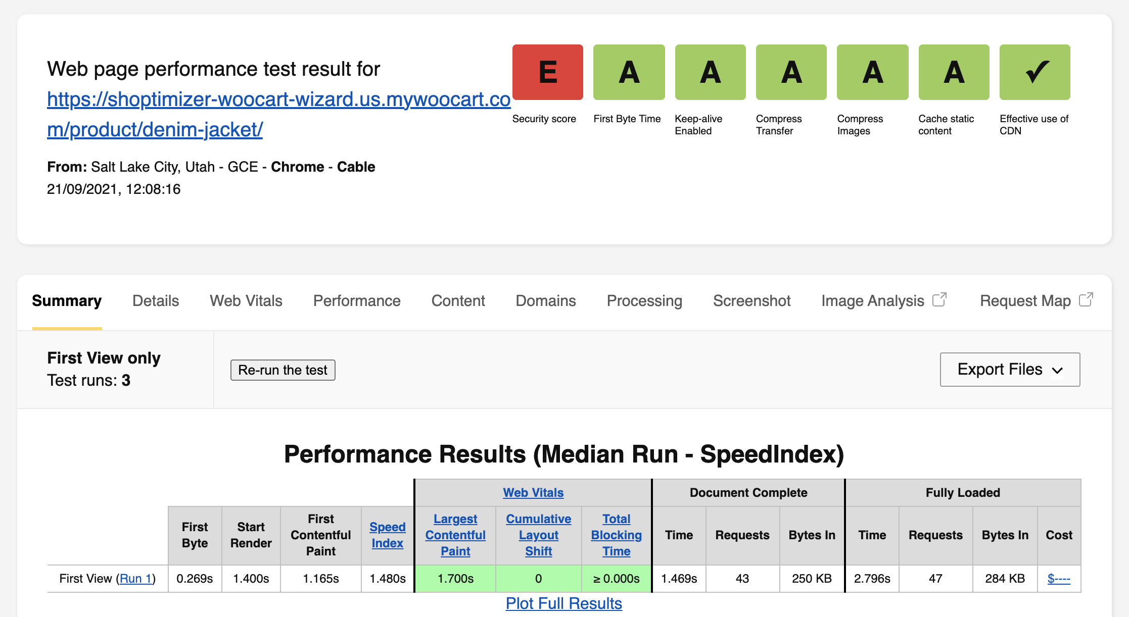 WebPageTest Single Product Page Result