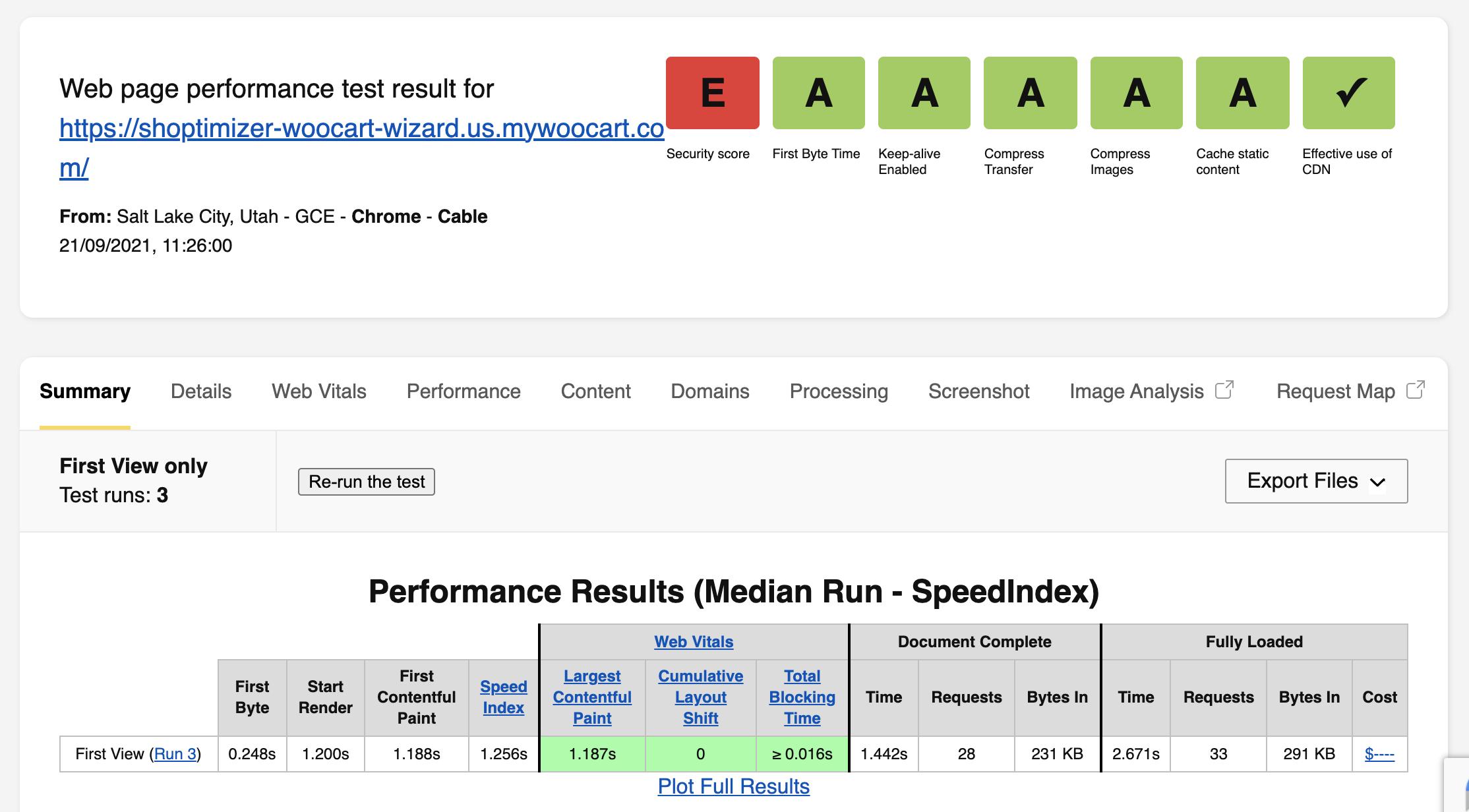 WebPageTest Page Speed
