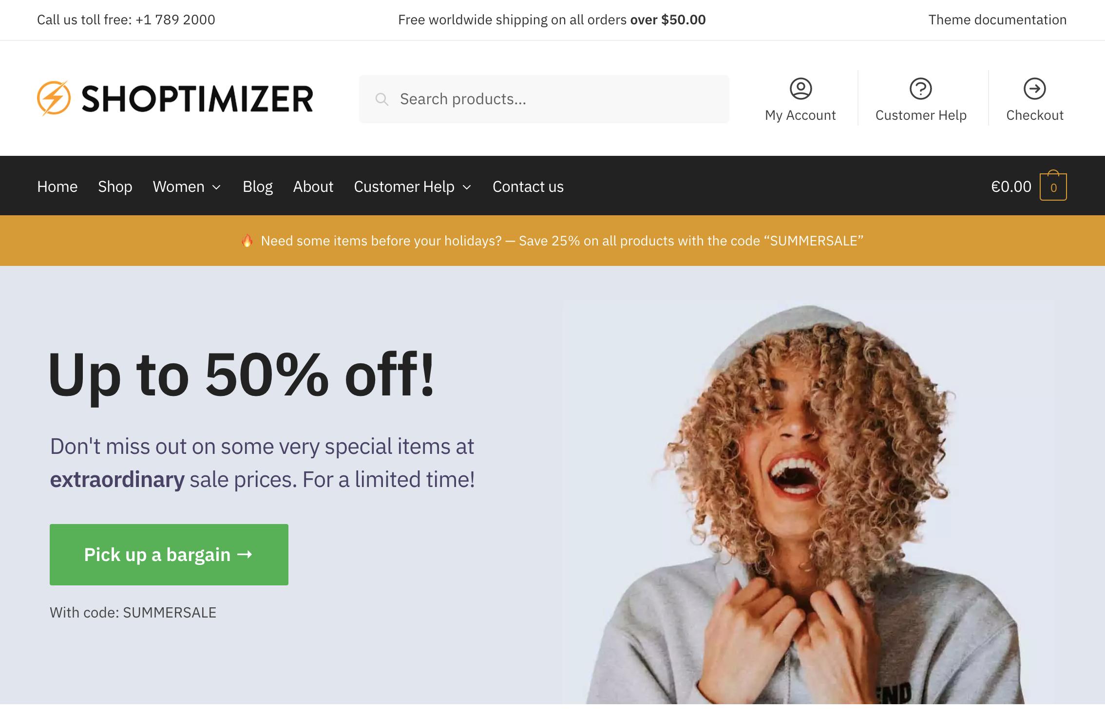 Shoptimizer store running on WooCart